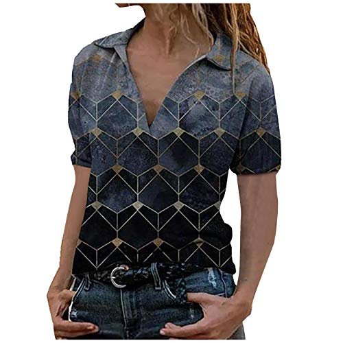 Zegeey Damen Lässiges, lockeres Kurzarm-Revers-T-Shirt-Oberteil Pullover Sweatshirt Frauen Elegant Frühling und Herbst Bedrucktes Hemd Tops