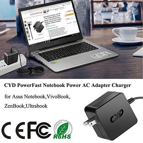Cyd 45w powerfast-laptop-charger for acer aspire r15 r5 r7 s5 s7 v13 switch 11 11v 12 alpha sw5-171 sw5-171p aspire one cloudbook 11 14 spin 5 sp513 swift 3 sf314 a13 extra 8.2 ft ac-adapter cable