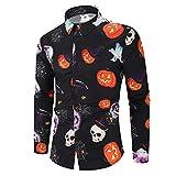 SANFASHION Chemise Halloween Decoration Noël Imprimé, Chemise Shirt Boutons Casual,Chemise à Manches Longues 3D Drôle Imprimé Graffiti,Chemise Tops Shirt Hiver Fantaisie Grande Taille