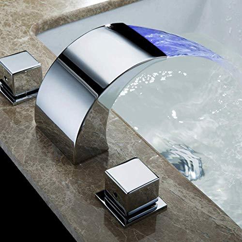 Wastafelkraan voor de badkamer, met 3 gaten en twee handgrepen, hydro-elektrische energie Chroom