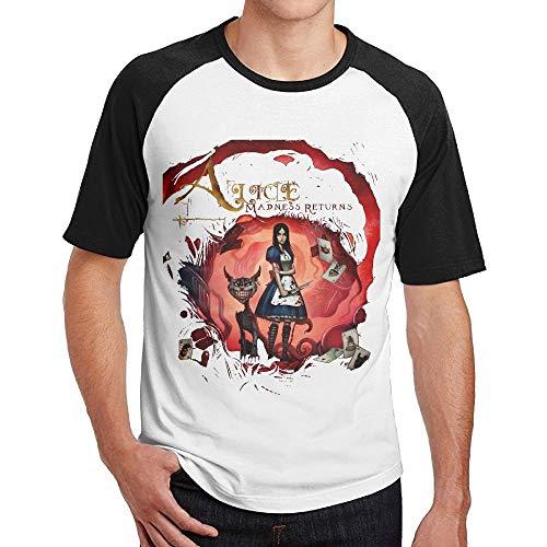 Welikee T-Shirt, Manica Corta, Men's Alice Madness Returns Short Sleeve Raglan Baseball Tee Black