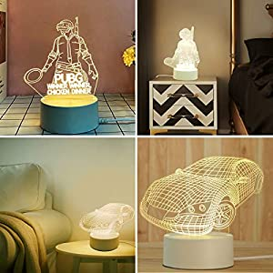 3D Kids Night Lamp USB Charge 3 Color Changing Table Desk Bedroom Decoration Lamp PUBG and Sports Carfor Boy