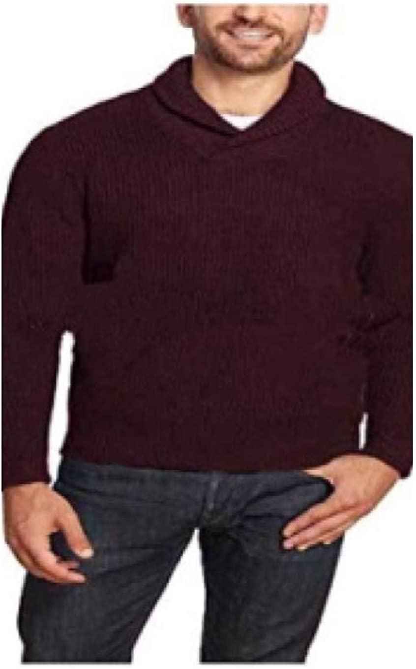 Weatherproof Vintage Mens Shawl Collar Sweater (XL, Burgundy)