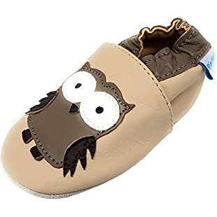 Customer reviews MiniFeet Soft Leather Baby Shoes, Beige Owl 2-3 Years