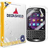 DeltaShield Full Body Skin for BlackBerry Q10 (2-Pack)(Screen Protector Included) Front and Back Protector BodyArmor Non-Bubble Military-Grade Clear HD Film