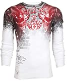 Affliction Archaic Men Thermal T-Shirt NIGHTWATCHER Skulls Biker (X-Large) Black