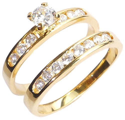 Ah! Jewellery. 0.34ct Women's Channel Set Ring And Band With Finest Lab Diamonds. 24k Gold Electroplated