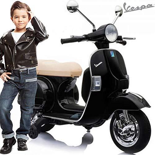 BAKAJI Vespa Px 150 per Bambini 12V Sellino in Pelle Beige Ufficiale Piaggio Vespina Moto Design Realistico con Luci Suoni Attacco MP3 USB Rotelle Laterali con Battistrada in Gomma (Nero)