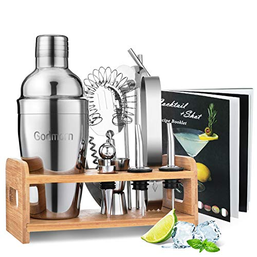 Cocktail Shaker Set Bartender Kit, Godmorn 15Pcs Bartender Shaker Set, 304 Stainless Steel Martini Shaker and Strainer, 550ml /19OZ Bar Tool Set With Bamboo Stand, Recipe Booklet, For Home And Bar