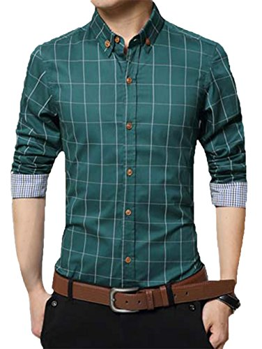 Kuson Homme Chemise à Carreaux Manche Longue Coton Slim Fit Casual Mince Vert L