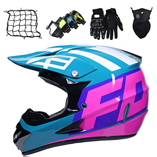 Casco MTB Integrales, Set de Casco Motocicleta Motocross Adultos y Niños (Gafas+Guantes+Máscara+Red de Casco) para Scooter Downhil Moto Cross Todoterreno Enduro MX ATV - con Diseño FOX, Homologado ECE