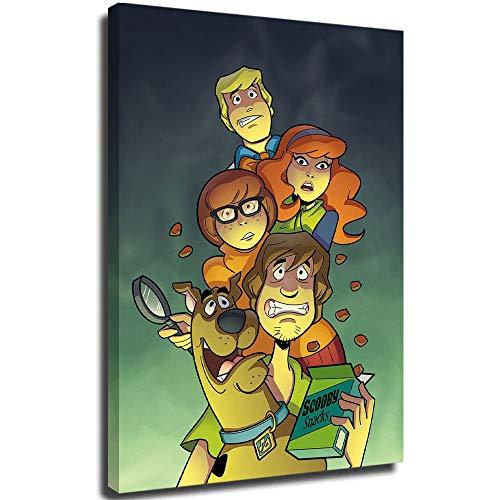 FOCLKEDS Scooby Doo Mystery Mayhem Poster Scooby Doo impresión cartel reproducciones de 30,6 x 24 pulgadas lienzo enmarcado para pared de salón, dormitorio, oficina, arte estirado y listo para colgar.
