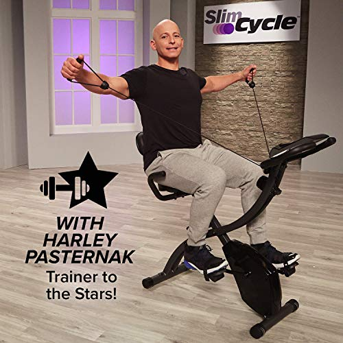 Slim Cycle Folding Indoor Exercise Bike with Arm Resistance Bands