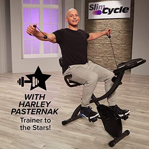 Bicicleta estática plegable, de interior, con bandas de resistencia para brazo y monitor cardíaco, perfecta máquina de ejercicio para el hogar