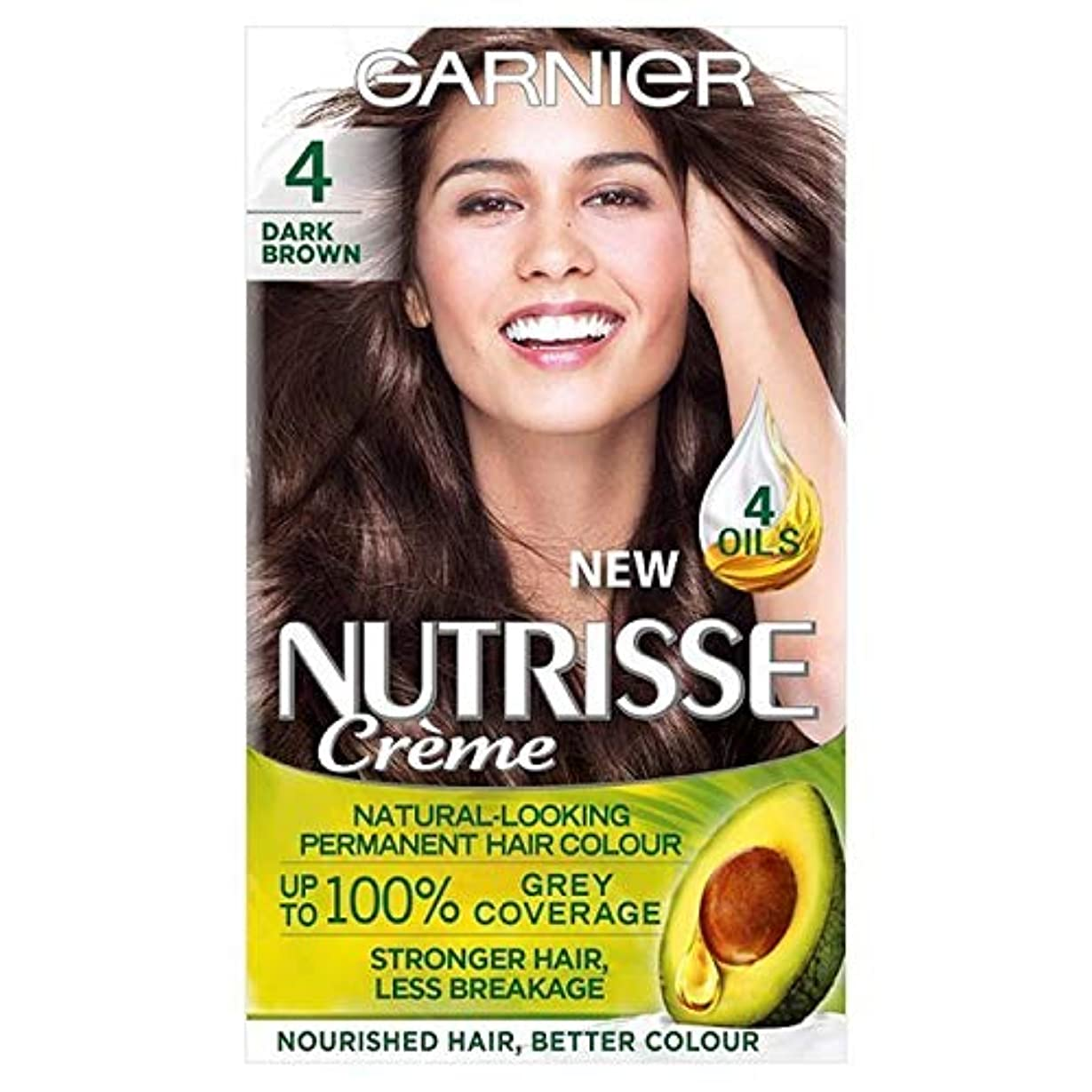 大脳無効自動車[Garnier ] ガルニエNutrisse永久染毛剤ダークブラウン4 - Garnier Nutrisse Permanent Hair Dye Dark Brown 4 [並行輸入品]