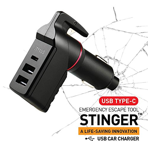 Ztylus Stinger Type C USB Emergency Escape Tool: Life-Saving Rescue Car Charger, Spring Loaded Window Breaker Punch, Seat Belt Cutter, 3 USB Ports Max 3.0A C Cigarette Charger (Black)