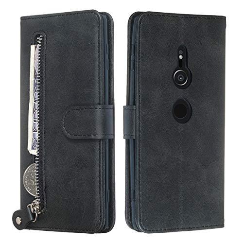 Capa para Sony Xperia XZ3, YINCANG de couro sintético macio de poliuretano termoplástico com fecho magnético com zíper e compartimento para cartão, capa protetora para Sony Xperia XZ3 6 polegadas preta