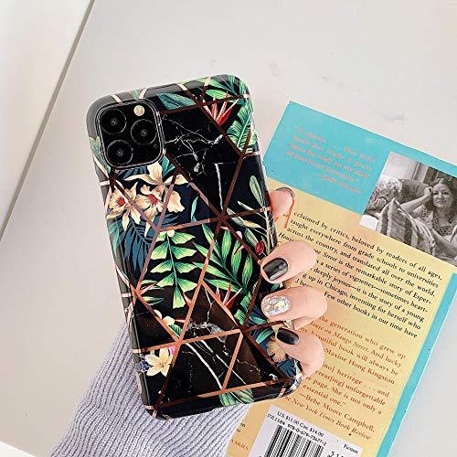 Uposao Kompatibel mit iPhone 11 Pro Marmor Hülle Case Bling Glitzer Marmor Blätter Blumen Muster Schutzhülle Weiche TPU Silikon Ultra Dünn Hülle Kratzfest TPU Handytasche Case,Schwarz