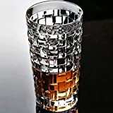 DKmall Crystal Clear Highball Glasses Chex Design Whiskey Glass for Water, Juice, Beer, Wine, Whiskey, Vodka, Brandy and Cocktails Drinking Glasses, 300 Ml - Set of 6 Transparent