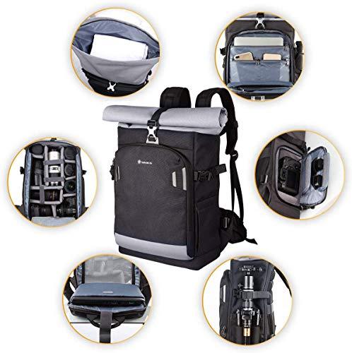 TARION Pro XP Camera Backpack Waterproof Camera Bag Hard Shell Roll Top Expandable Large Camera Backpack 19L | 15
