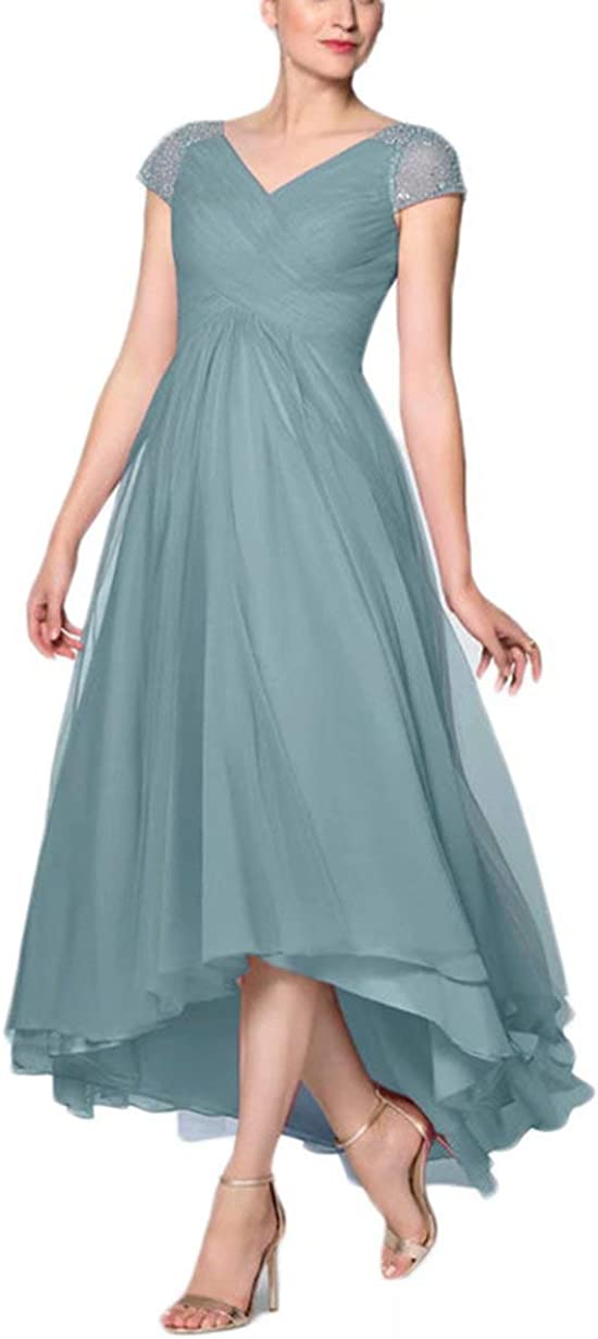 Chiffon Mother of The Bride Dresses High Low Long Formal Prom Dress for Women with Cap Sleeves