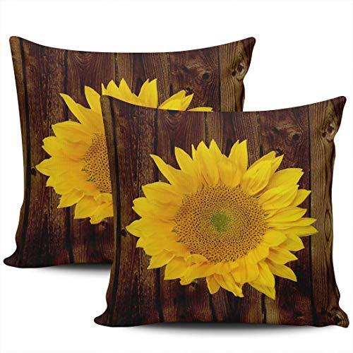 GodYo verpakking met 1 sofakussenovertrekken Mooie gele zonnebloem op houten plank Verborgen kussenslopen met ritssluiting Vierkante kussenslopen