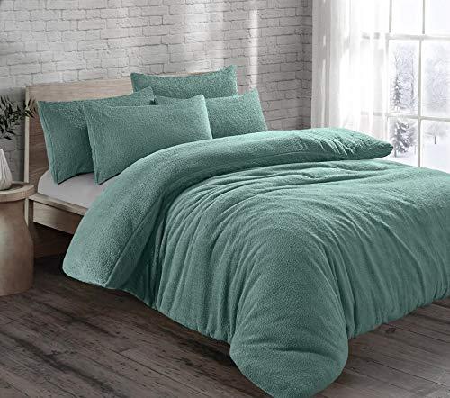 Juego de funda de edredón y funda de almohada, diseño de osito de peluche cálido y suave, tamaño king, color verde azulado