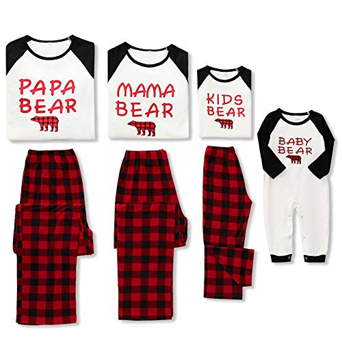 WESIDOM Christmas Family Pajamas Matching Sets,Bear Classic Plaid Xmas Clothes Soft Outfit Sleepwear