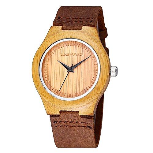 HWCOO JANGYUYAN Belt Watch Ebenholz Uhr Paar Tisch Bambus Uhr (Color : Woman)