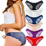 Kingfung 3-6 Pack Women's Invisible Seamless Bikini Underwear Half Back Coverage Panties (6Pack-C M)