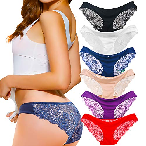 Kingfung 3-6 Pack Women's Invisible Seamless Bikini Underwear Half Back Coverage Panties (6Pack-C XL)