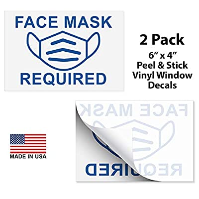 """Face Mask Required Window Decal for Rideshare Drivers, Taxis - Pack of 2 Peel & Stick Vinyl Decal Stickers - 6""""x 4"""" Clear Vinyl Sticker for Car Window, Store Windows & Doors - Made in USA"""