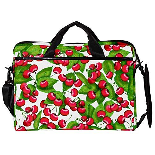 TIZORAX Laptop Messenger Shoulder Bags Cherry Fruit Background Computer Sleeve Notebook Carrying Case 15-15.4 inch Handbag