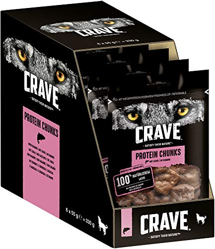 Crave Hundesnacks Protein Chunks mit 100{52af6767c9731f0ed46f01d0871f5978b6df78db9dc45817af6c8c0a0bfe6c33} natürlichem Lachs, 6 Packungen (6 x 55 g)