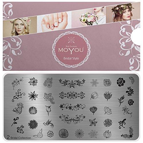 MoYou Nägel XL Braut Plates Kollektion 2, Wunderschöne Blümchen- Designs für Stempel- Nagelkunst