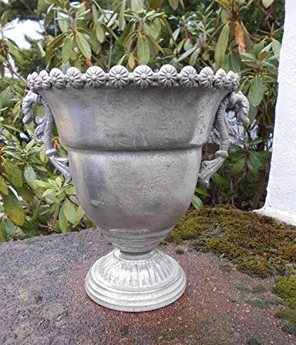 Deko-Impression Traumschöner Übertopf Amphore Pflanztopf Vase Eisen Antik-Silber