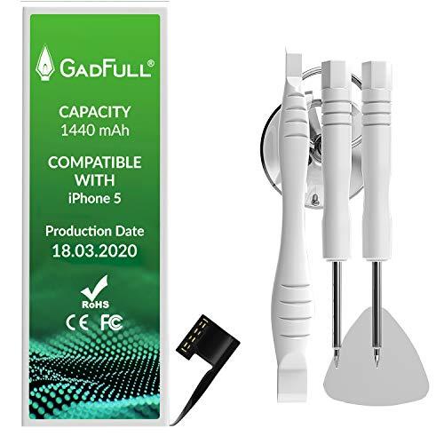 GadFull Batería de reemplazo para iPhone 5 | 2020 Fecha de producción | Incluye Kit de Herramientas Profesional de reparación Manual | Funciona con Todos los APN Originales