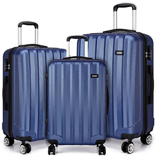 Kono Zwillingsrollen Hartschale ABS Koffer Trolley Reisekoffer Rollkoffer Gepäck in M-L-XL-Set (Dunkelblau, Set)