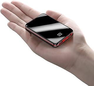 ミニサイズ・鏡面20000mAhモバイルバッテリーポータブル電源20000mAh大容量コンパクトスマホ充電器超薄型軽量入力2ポート急速充電超小型ミニ型楽々収納デジタル表示携帯充電器 (ブラック)