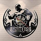 BFMBCHDJ Ma Règle Citation de Motivation Mur Art Gym Horloge Murale Muscle Man Pondération Disque Vinyle Horloge Murale Centre de Remise en Forme Horloge Décorative