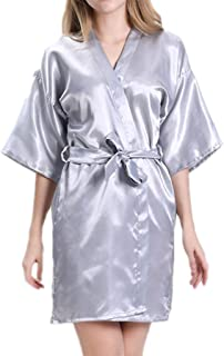 Women's ice Silk Pajamas, Summer Five-Sleeved Bathrobes, Artificial Silk Pajamas, Casual Home wear, V-Neck, Belt Design, (Color : Silver Gray, Size : S)