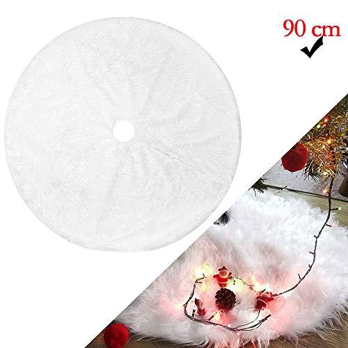 WELLXUNK Weihnachtsbaumdecke,90 cm Christbaumdecke,Weiß, Plüsch, Rund, für Weihnachtsbaum Verzierung Bodendekoration Weihnachtsdeko Weihnachtsbaum Deko Weihnachtsbaumschmuck