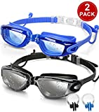 SBORTI Swim Goggles Swimming Goggles, Pack of 2 No Leaking Anti Fog UV Protection Swim Glasses Water Goggles Triathlon for Adult Men Women Youth Kids, with Mirrored & Waterproof (A-Black+Blue-1)