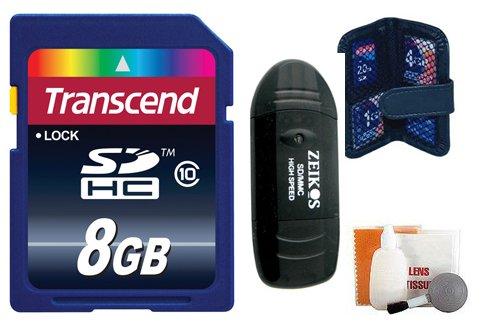 Transcend 8GB Secure Digital (SDHC) Class 10Tarjeta de Memoria + Kit de Accesorios