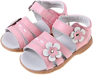 Girls Pink Open Leather Sandal