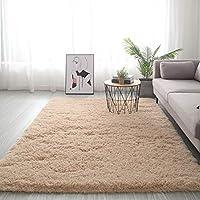 マシン 洗える カーペット,シャギー ホームインテリア 床 絨毯,余分な柔らかい ファジーキッズベッドルーム Carpet ふわふわ カーペット フランネル リビングルーム ホーム デコレーション-明るいベージュ 160x230cm(63x91inch)