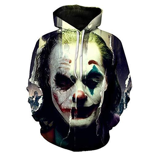 uDaShaA Sudadera con Capucha de Disfraz de Joker Unisex 2019 Fiesta de Navidad Disfraz de Cosplay Sudadera Impresa en 3D para Hombres/Mujeres