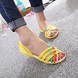 NISHIWOD Zapatillas Casa Chanclas Sandalias Sandalias De Mujer Caramelo Zapatos De Mujer Peep Toe Stappy Beach Valentine Rainbow Zuecos Zapatos De Gelatina Mujer Pisos 4 Amarillo