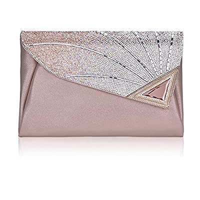 Clutch Purse For Women Formal Ladies Rhinestone Clutch handbags Leather Clutch Bag Wedding Bridal Cocktail With Strap(silver)
