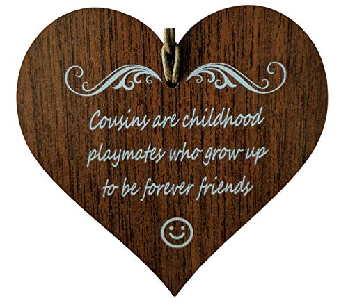 Wooden & Antique - Cousins are Childhood Playmates Who Grow Up to Be Forever Friends. I Love You Cousin Quotes- Wooden Hanging Heart Plaque-Sign Gift